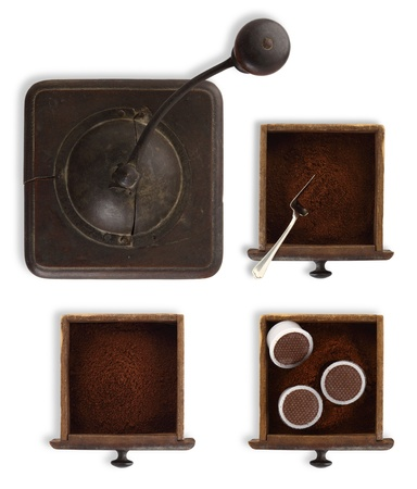 drawers grinder with coffee powder and capsules