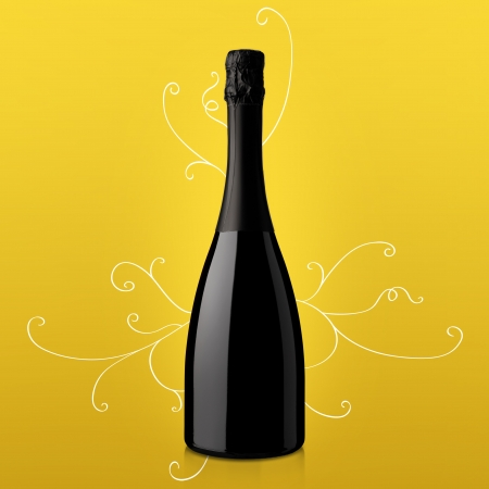 muscat: bottle of wine on yellow background Stock Photo