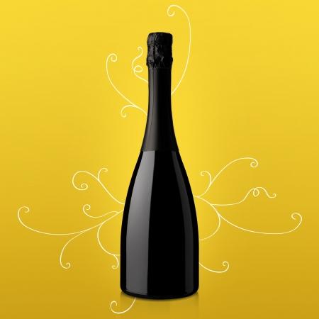 sektglas: Flasche Wein auf gelbem Hintergrund