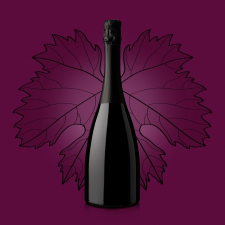 bottle of wine over red background with leaf photo