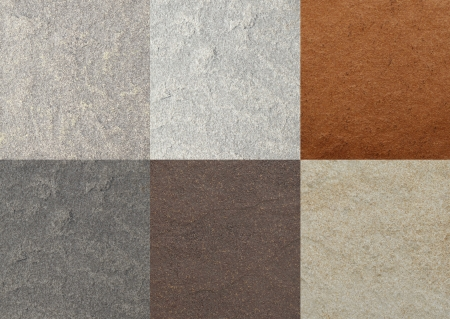 brown granite: color marble textures, tiles collage Stock Photo