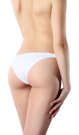 hintern: Schöne Körper der Frau auszusetzen Boden und Rückseite, isoliert auf weißem Hintergrund