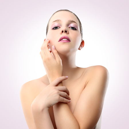 young naked girl: look for woman with healthy clean skin, isolated on pink background