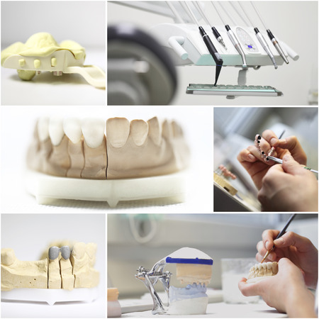 composition collage dental dentist objects implants