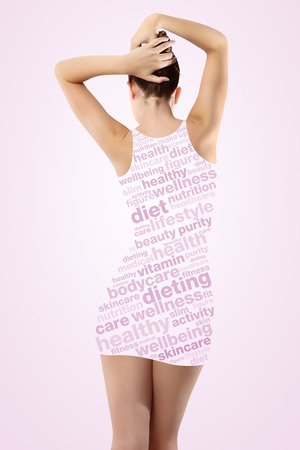 Body of woman on pink background photo