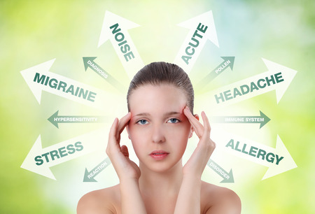 woman showing pain in the head with info graphic photo