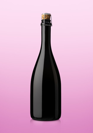 corked: bottle of sparkling wine on pink background