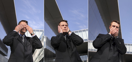 business man see no evil, hear no evil, speak no evil, three monkeys concept Stok Fotoğraf - 33261781