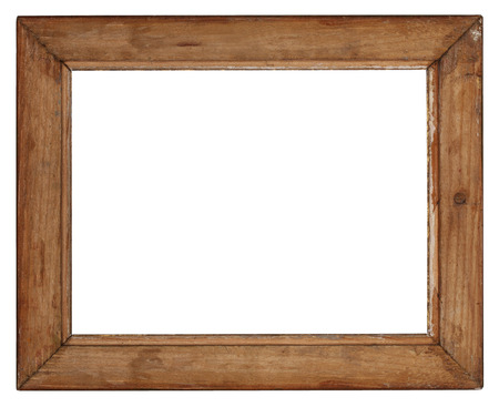 opaque: old wooden picture frame on white background Stock Photo