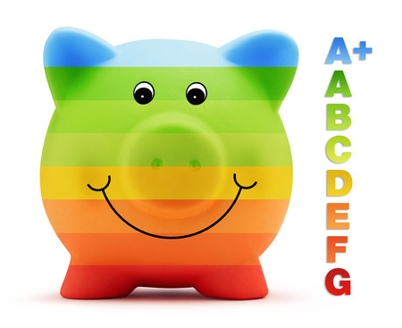 scale energy class savings with piggy bank photo