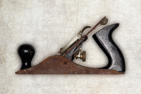 planer: old carpenter tool planer, isolated