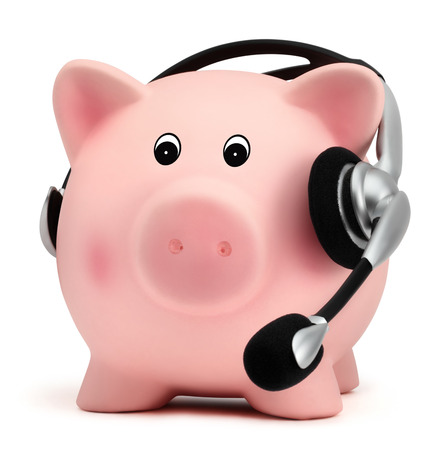 call center people in isolated: piggy bank with headset isolated on white background Stock Photo