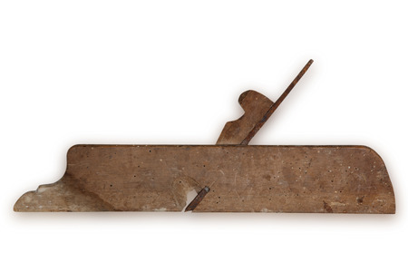planer: old carpenter tool planer isolated on white background