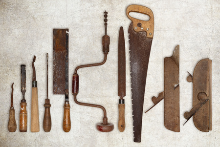 old tools: composition of old tools for wood