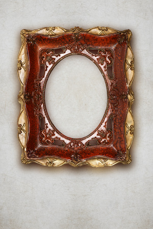 olden: antique picture frame handmade ceramics isolated on wall effect background
