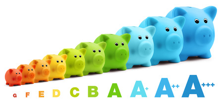 energy class efficiency scale savings of colorful piggy bank