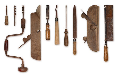 herramientas de carpinteria: composici�n de las viejas herramientas para la madera