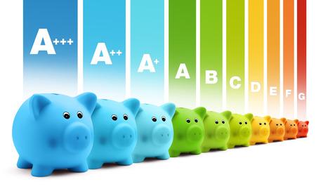 eficiencia: economía de escala de eficiencia energética de clase de colorido alcancía Foto de archivo