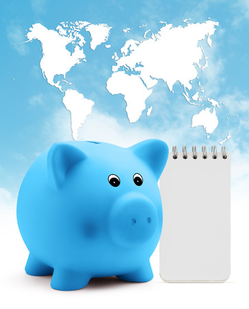 block note: piggy bank with block note on blue sky planet map background