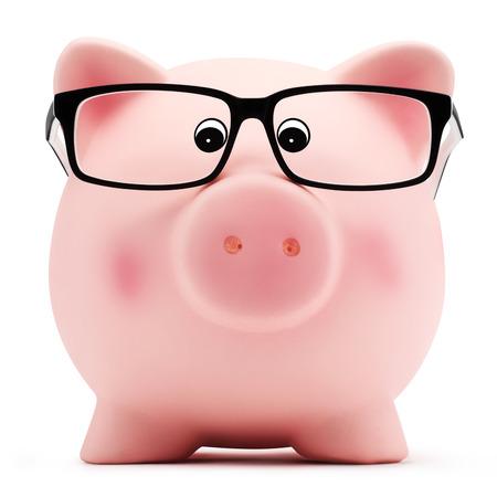 spaarvarken met bril op een witte achtergrond Stockfoto