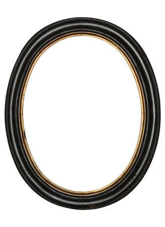 oude ovale omlijsting houten geïsoleerde witte achtergrond Stockfoto