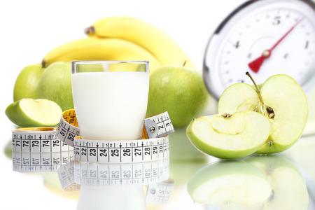 diet food milk glass, fruit Apple meter scales
