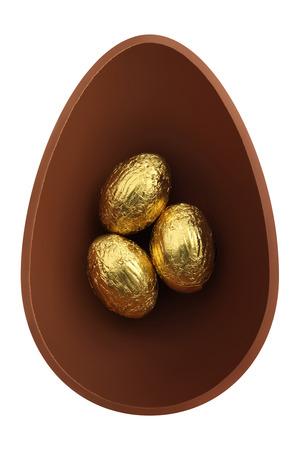 half open: nest of chocolate easter eggs Stock Photo