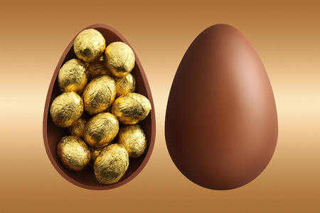 chocolate Easter eggs on gold background