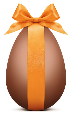 Easter chocolate egg with orange ribbon bow Stock Photo - 38324214
