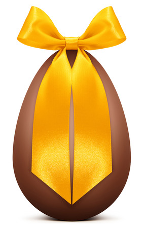 Easter chocolate egg with golden ribbon bow Stock Photo