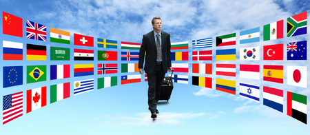 international businessman travel walking with background of flags Stok Fotoğraf - 39576884