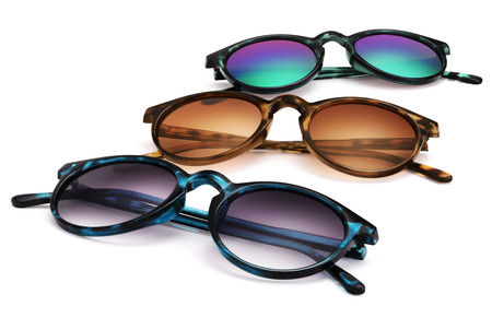 tinted: sunglasses isolated on white background in various colors