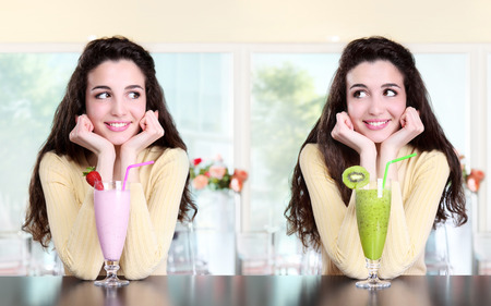 smiling girl in coffee drink milkshake strawberry and kiwi