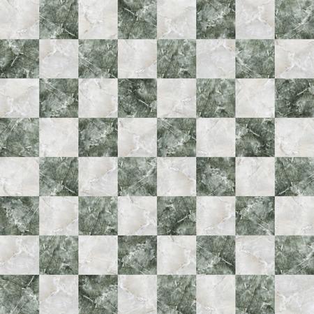 緑と白の大理石の効果とのシームレスな市松模様のタイル 写真素材