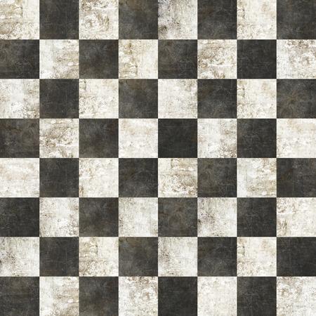 黒と白の大理石の効果とのシームレスな市松模様のタイル