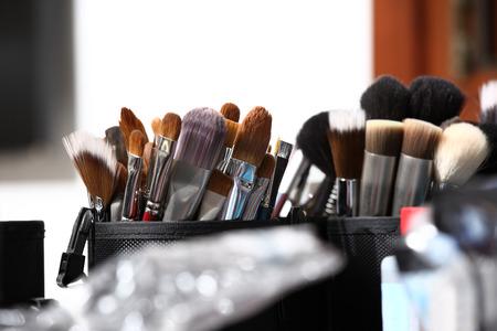 maquillage: pinceaux de maquillage, gros plan Banque d'images