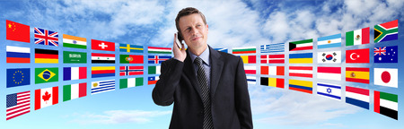 International businessman talking on the phone, global communication