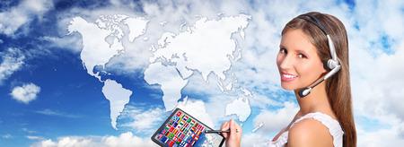 call center operator global international communications concept