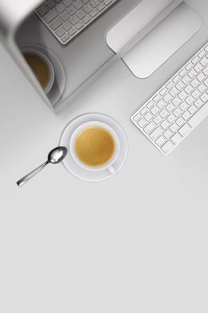 computer isolated: coffee break, top view desk with computer and cup of coffee