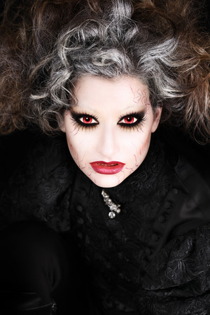 wicked woman: vampire woman portrait, halloween make up