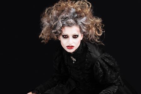 gothic woman: vampire woman portrait, halloween make up