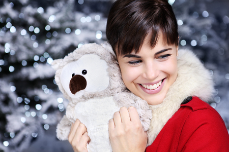 plush toy: Christmas woman smiling with gift, owl plush toy,