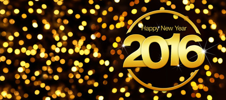 happy new year 2016 golden text in lights background