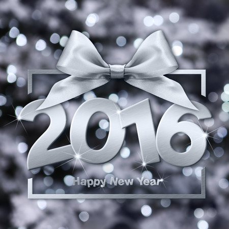 argent: happy new year 2016 silver text with box and ribbon in lights background Stock Photo