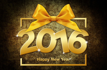 event party festive: happy new year 2016 golden text with box and ribbon on grunge  background