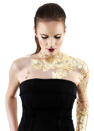 body paint: glamour fashion makeup model, gilded body paint Stock Photo