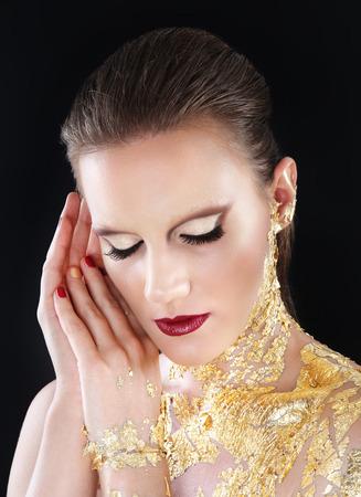gilded: glamour makeup model portrait, gilded body paint