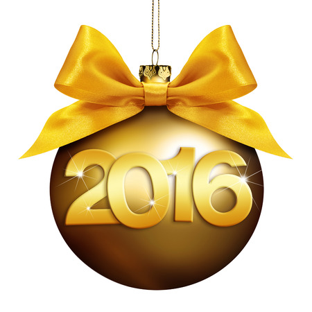 christmas  ball, happy new year 2016 golden text isolated on white background Reklamní fotografie