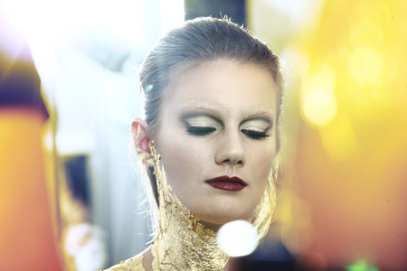 gilded: glamour fashion makeup model portrait, gilded body paint