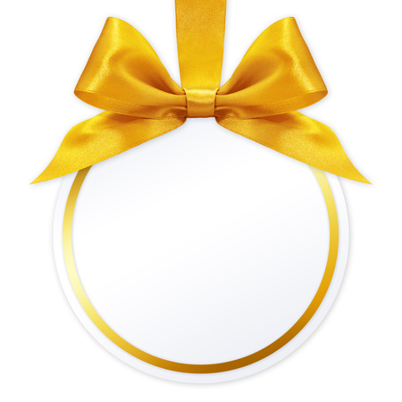 golden ball: ball with golden satin ribbon bow on white background